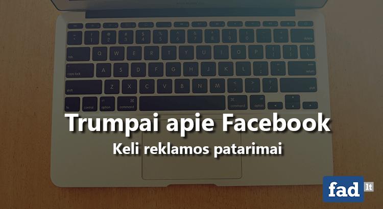 Keli patarimai apie Facebook reklamą
